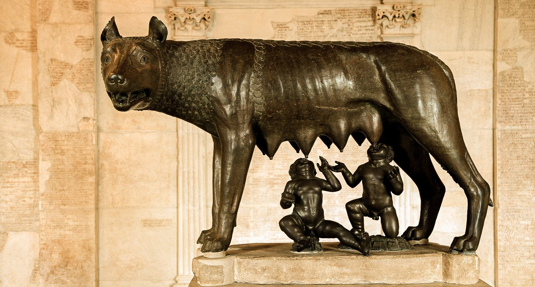 Bronze statue of the She-Wolf suckling the infants Remus and Romulus.